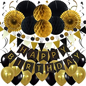 ZERODECO Birthday Party Decoration, Happy Birthday Banner with Paper Fans, Honeycomb Balls, Triangular Pennants, Circle Paper Garland, Hanging Swirls and Balloons - Black and Imitation-Gold