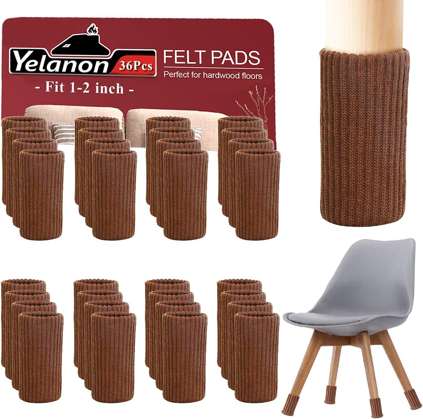 "Yelanon Furniture Socks 36 Pcs - Chair Leg Floor Protectors Knitted Chair Leg Socks for Hardwood Floors - Furniture Feet Protector Furniture Caps Set, Chair Covers for Legs with Diameter 1""-2"", Brown"