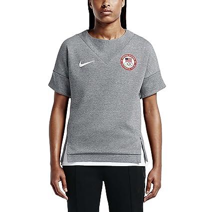 7308f337 Amazon.com: Nike Womens USOC TECH Fleece SS Crew, Carbon Heather ...
