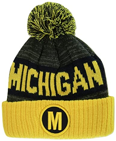 4915081826714 BVE Sports Novelties Michigan M Patch Ribbed Cuff Knit Winter Hat Pom Beanie  (Gold Navy Patch) at Amazon Men s Clothing store