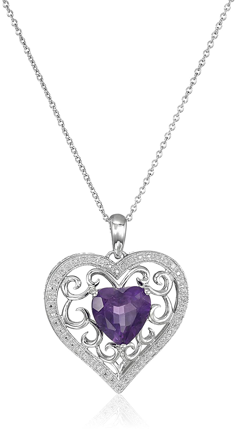 Sterling Silver Diamond Heart Pendant Necklace, 18