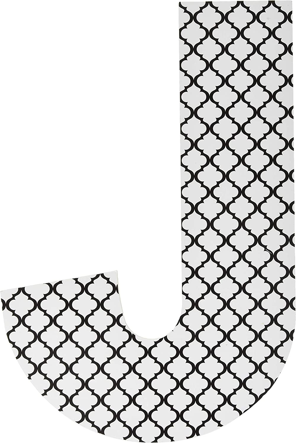 12 x 0.5 x 18 Proudly Made in USA Stupell Home D/écor Black and White Trellis 18 Inch Hanging Wooden Initial