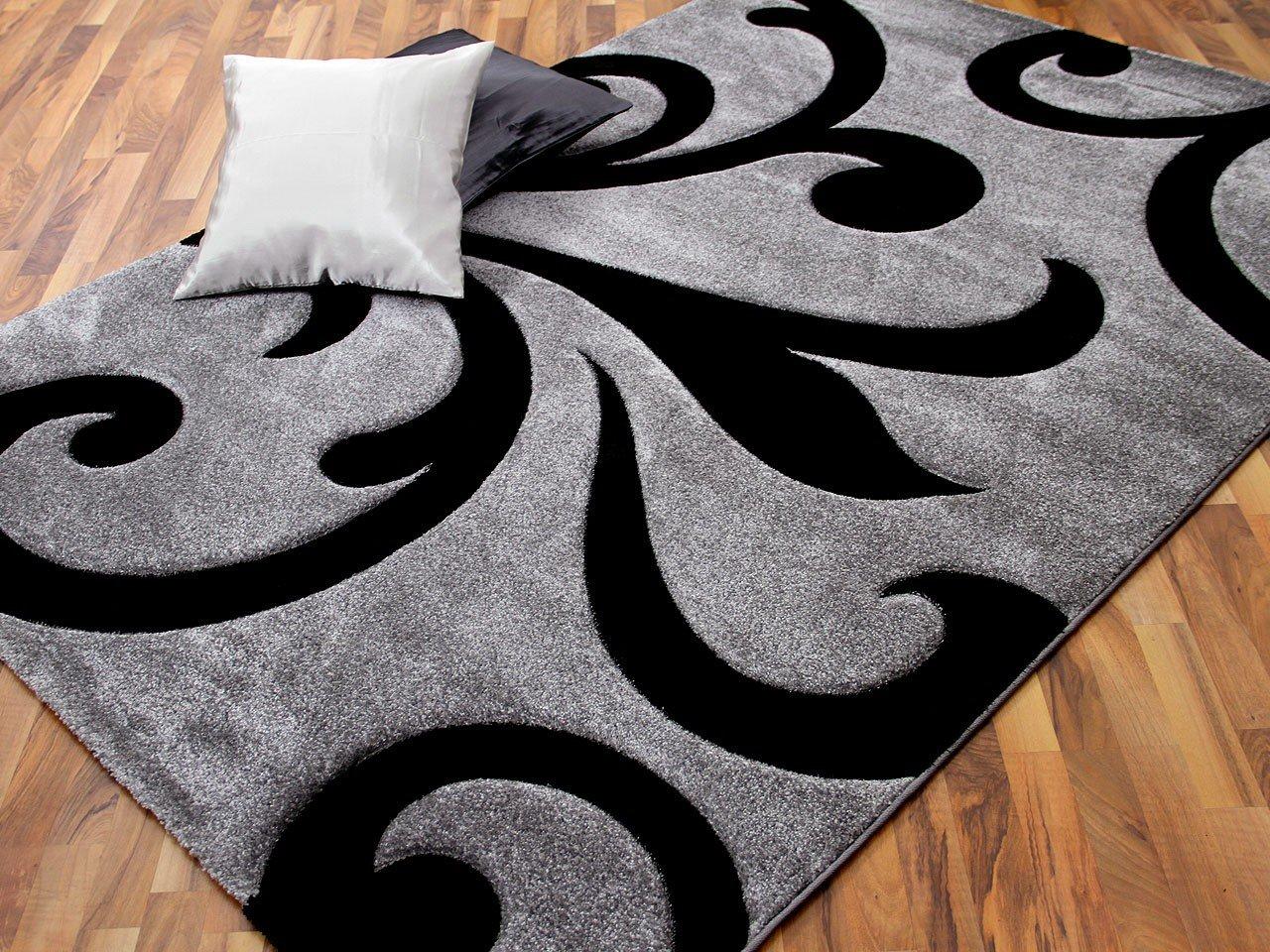 Maui Designer Teppich Modern Schwarz Ranken in 4 Größen