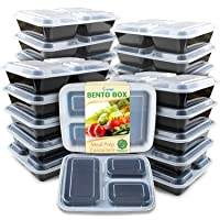 Deals on 20 Pack Enther Meal Prep Containers 1 Compartment w/Lids 28 oz