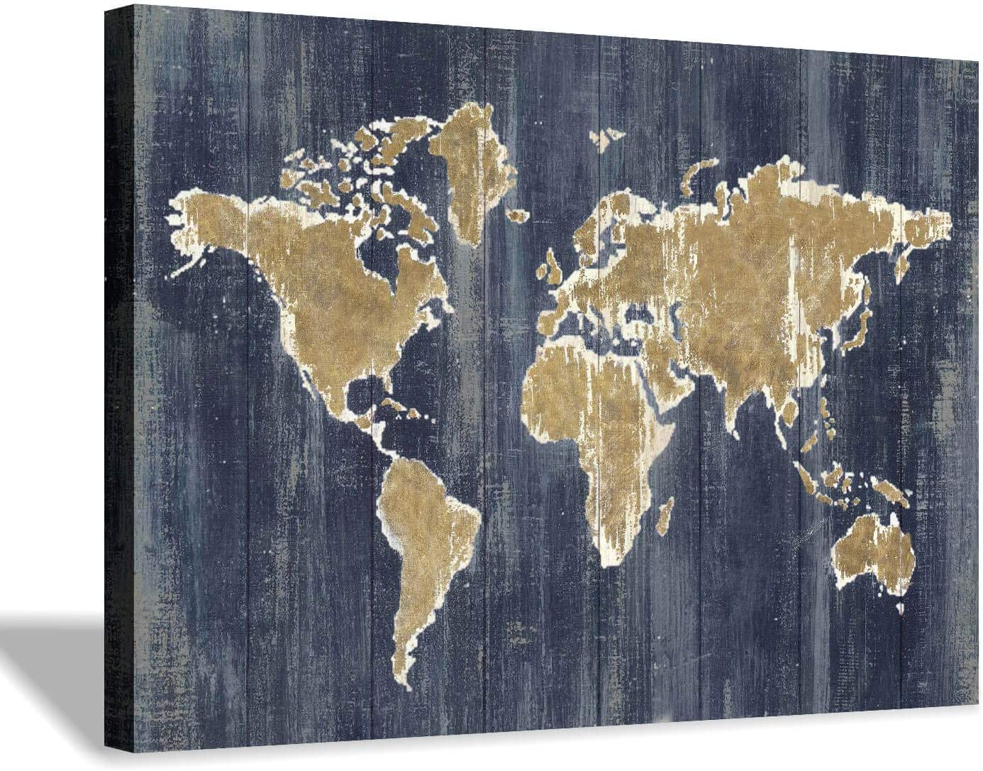 Hardy Gallery World Map Wall Art Print Old Blue Painting Print On Wrapped Canvas Wall Decor For Office Living Room 36 X24 X1pcs Paintings