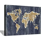Hardy Gallery World Map Wall Art Print: Old Blue Painting Print on Wrapped Canvas Wall Decor for Office Living Room (36''x24''x1pcs)