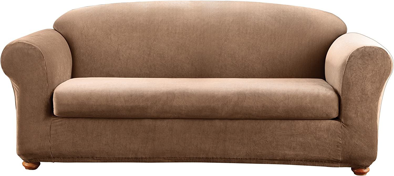 Surefit Sure Fit Stretch Madison Stripe One Piece Brown Sofa Slipcover