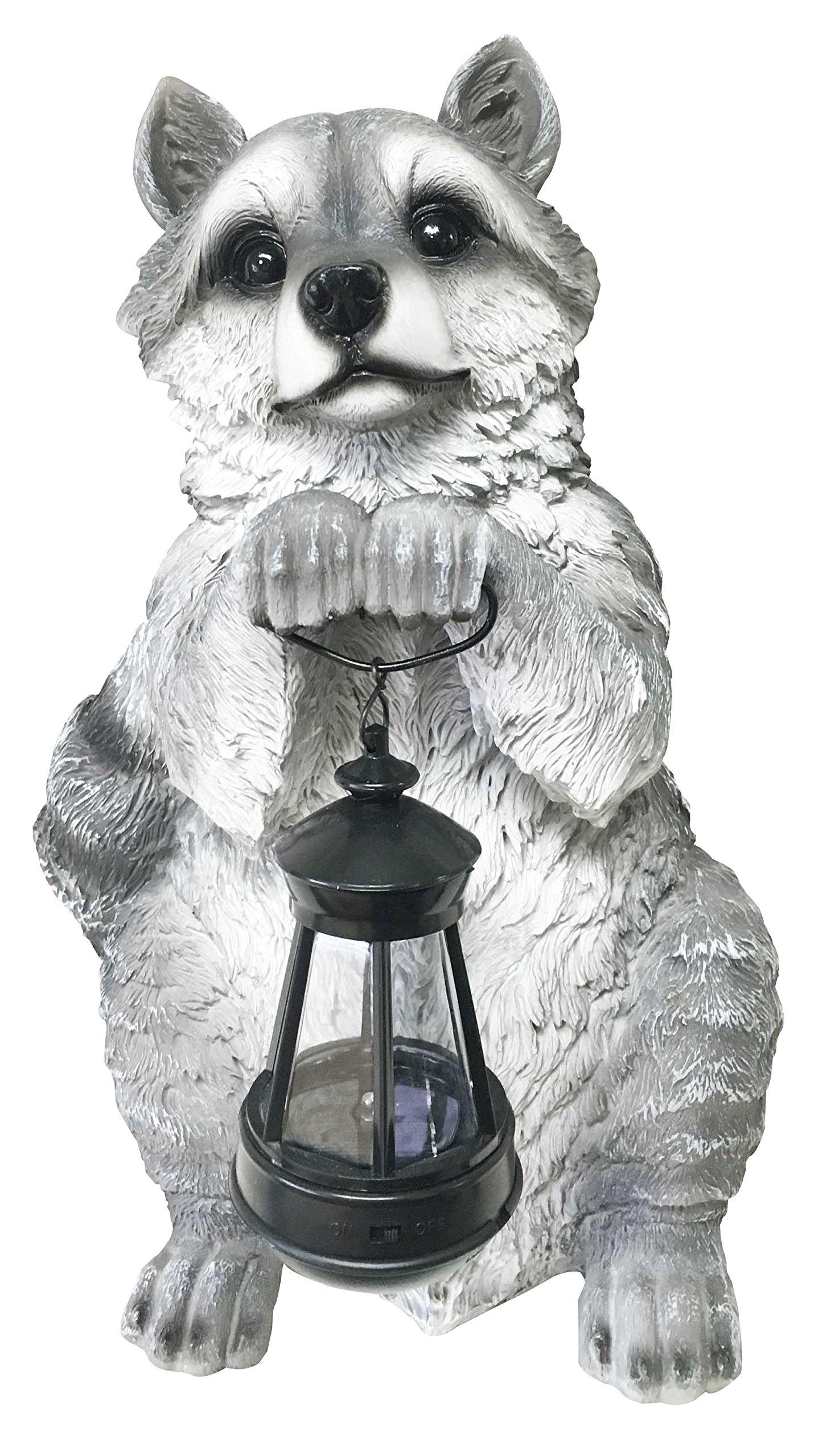 Ebros Night Bandit North American Raccoon Statue Holding Solar Powered Lantern LED Light Patio Decor Indoor Outdoor Raccoon