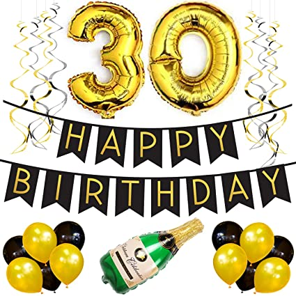 30th Birthday Party Pack Black Gold Happy Bunting