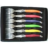 Laguiole I7210P6-NT - Estuche de tenedores con mango en colores pastel, 6 unidades