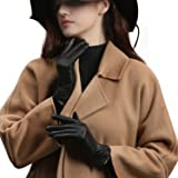 GSG Touchscreen Women Driving Leather Gloves Trendy Pleat Spain Nappa