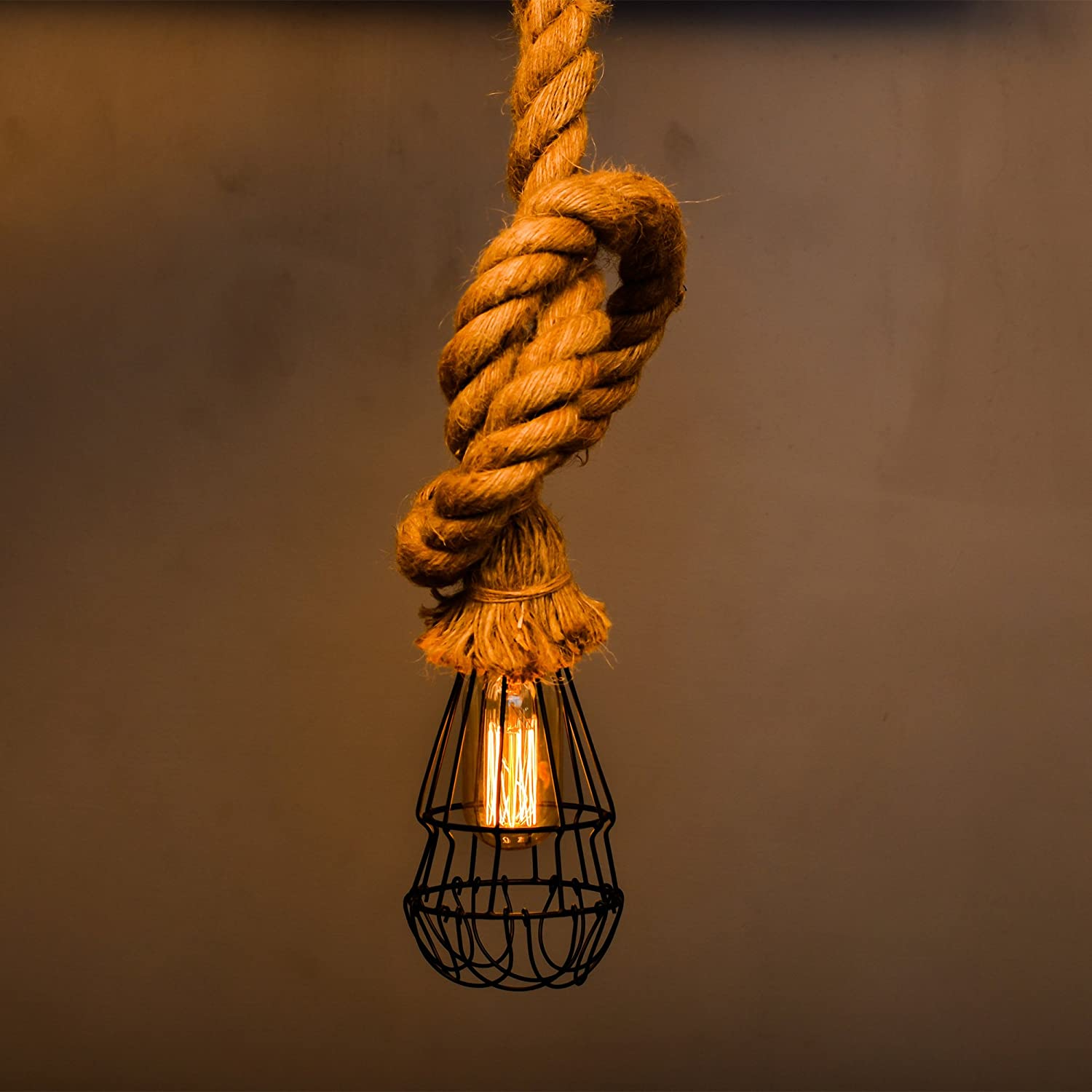 Buy Homesake Jute Rustic Hanging Rope Cage Lampretro Pendant Light Wiring A Lamp Knot With Filament Bulb T45 Cafe Lights 12m Lengthbeige Online At Low Prices In India