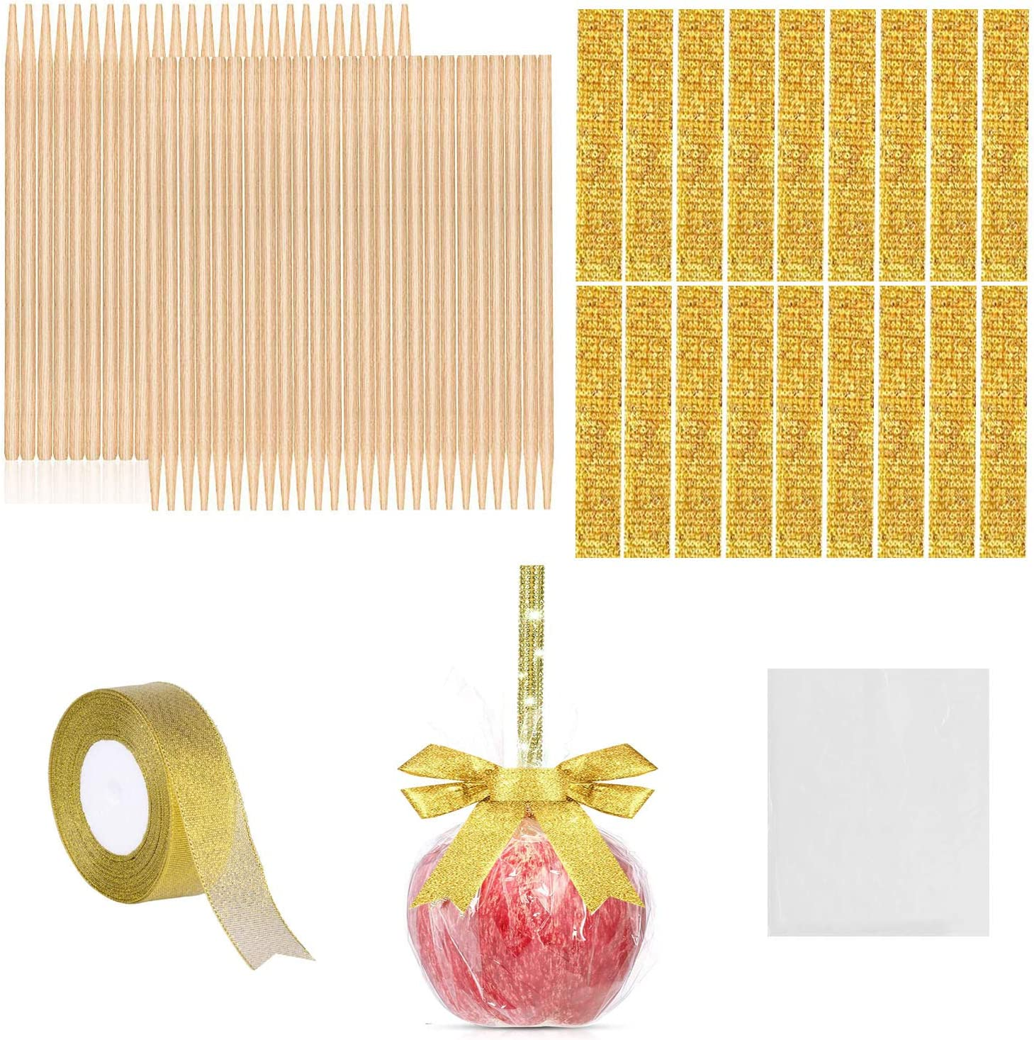 126 Pieces Candy Making Accessory for Festival Party, 50 Pcs Bamboo Candy Sticks, 25 Bling Bling Rhinestone Sticker, 50 Candy Glass Paper, 1 Roll 25 Yard Glitter Ribbon (Gold/Pink) (Golden)