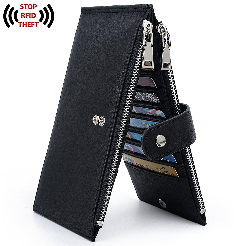 UTO RFID Wallet Women PU Leather Blocking Tech 19 Card Case Money Organizer Phone Zipper Pocket Black