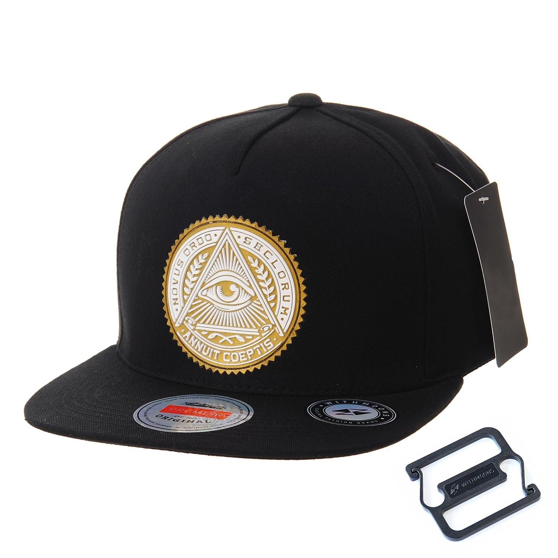 WITHMOONS Baseballmütze Mützen Caps Kappe Snapback Hat Illuminati Patch Hip Hop Baseball Cap AL2344 AL2344Gold