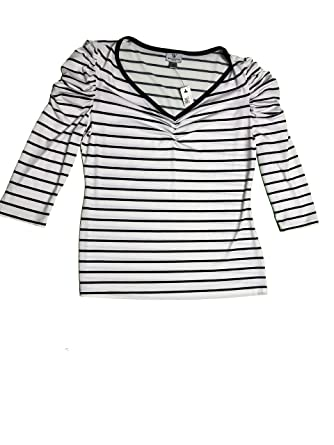 b00feb7958 Worthington Women's Stretch Blouse Reese Striped Medium Black & White at  Amazon Women's Clothing store: