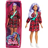 Barbie Fashionistas Doll #157, Curvy with Lavender Hair Wearing Red Plaid Dress, White Cowboy Boots & Teal Cross-Body…