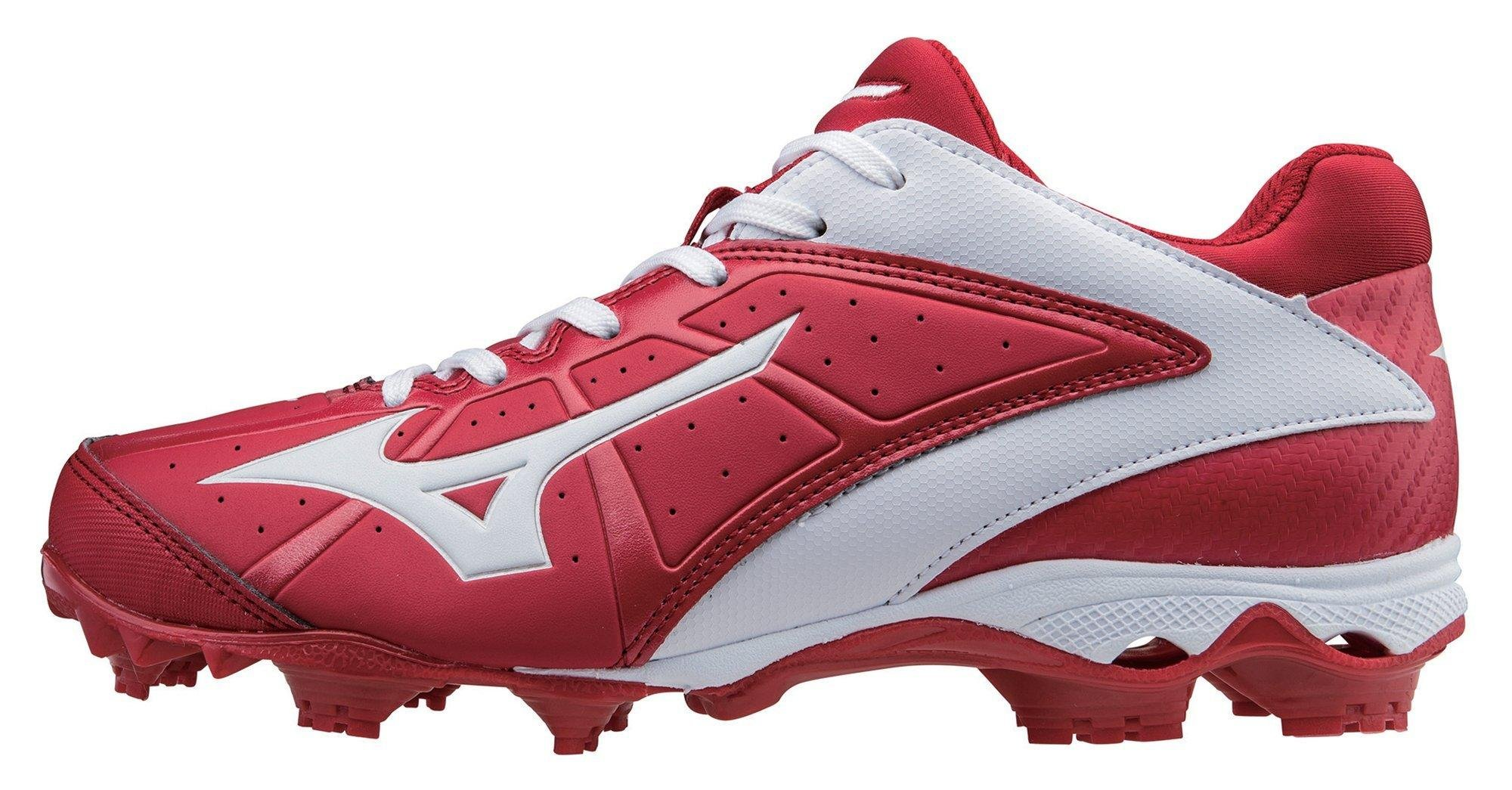 Mizuno Women's 9 Spike ADV Finch Elite 2 Fast Pitch Molded Softball Cleat, Red/White, 9.5 M US