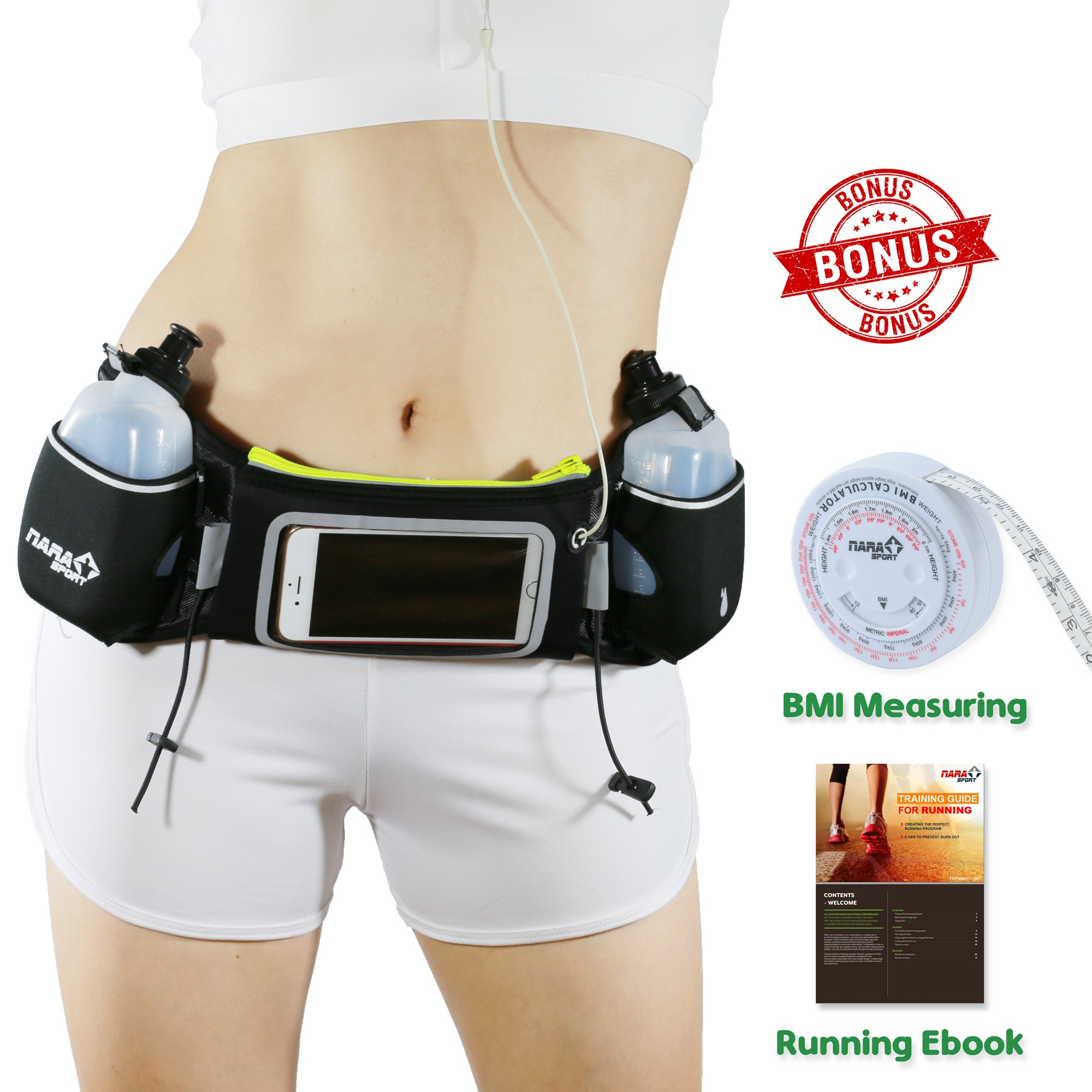 [Upgrade Version] Running belt with water Bottle by NARA Sport for running, walking,cycling,climbing, Hiking with Touchscreen Cellphone - Bonus a BMI Body Measuring, ebook, video Training by NARA Sport
