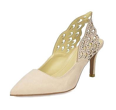 d56f555b92d0a4 DREAM PAIRS Women s Wings Nude Slingback Kitten Heel Pointed Toe Dress Pump  Shoes Size 5 B
