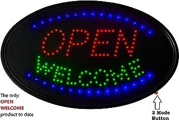 Amazon.com: Letrero de bienvenida abierto de neón LED: 3 ...