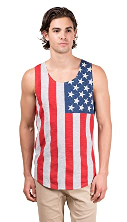 4458f8e5436018 Brooklyn Surf Men s American Flag Jersey Tank Top Sleeveless Stars N  Stripes Shirt