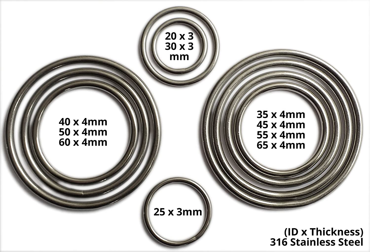 Inoxia Welded Rings, 316 Stainless Steel - Size: 55mm, Pack quantity: 50 Inoxia Ltd