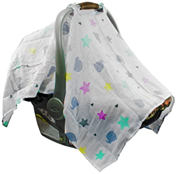 Amazon.com: Mum n Me Baby Car Seat Cover; Organic Cotton Muslin ...