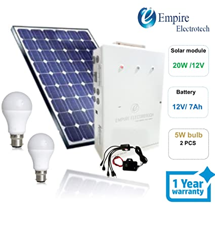 Solar Home Lighting System, for Home use Solar System, 2 DC Bulb and Portable inbuilt Battery Device, Solar Mobile Charger Included, 20W Solar Module, 12V/ 7 Ah Battery
