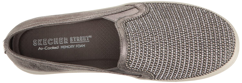 Skechers Damen Double Up-Shiny Dancer-801 Slip On Sneaker Grau (Pewter)