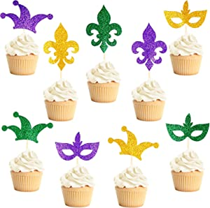 45 Pieces Mardi Gras Glitter Cupcake Toppers Crown Masquerade Fleur de Lis Pattern Cake Picks for Mardi Gras Parties DIY Baking Cake Craft Decoration