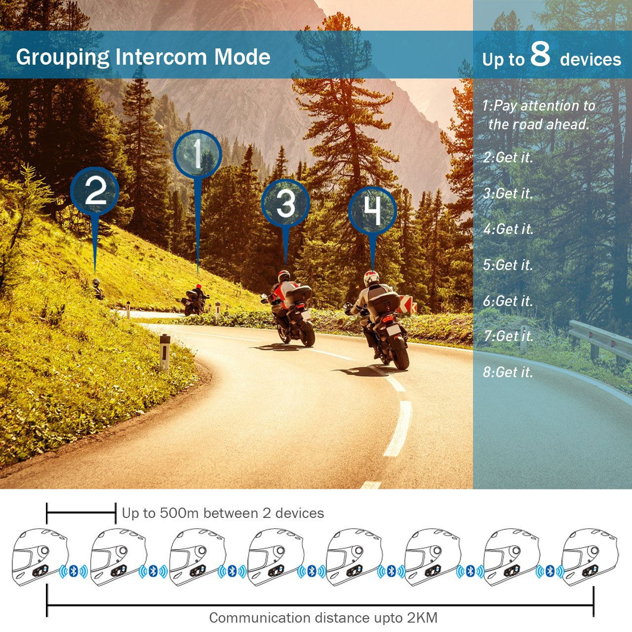 Motorcycle Bluetooth 4.1 Helmet Headset and Intercom Communication Systems Kit, Supports 8 riders group intercom, Handsfree Calls Voice Command 12hrs with Speakers headphones for Motorbike Skiing by BIBENE (Image #5)