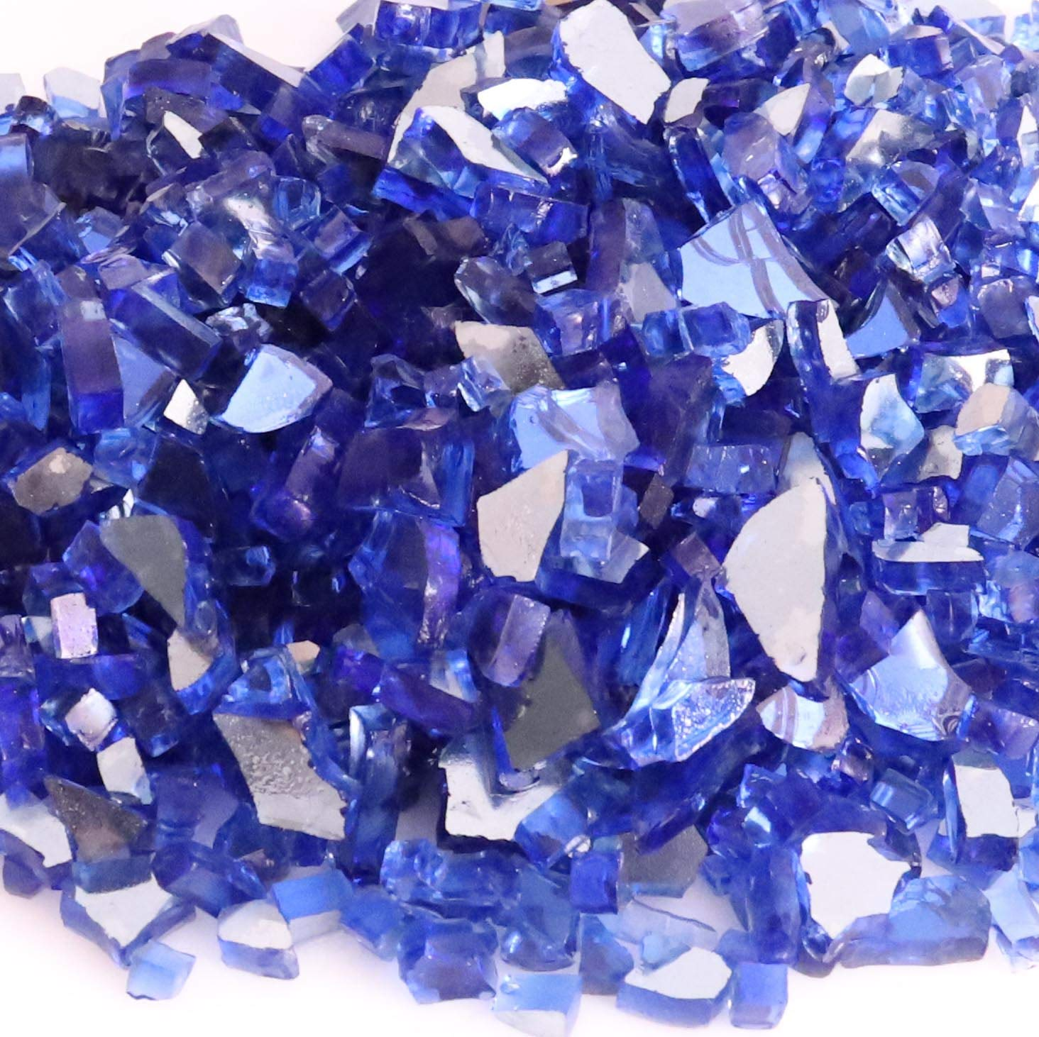 KIBOW 10-Pound Pack Crushed Fire Glass for Gas Fire Pit/Fire Table, (About 1/4 to 1 Inch)-Cobalt Blue