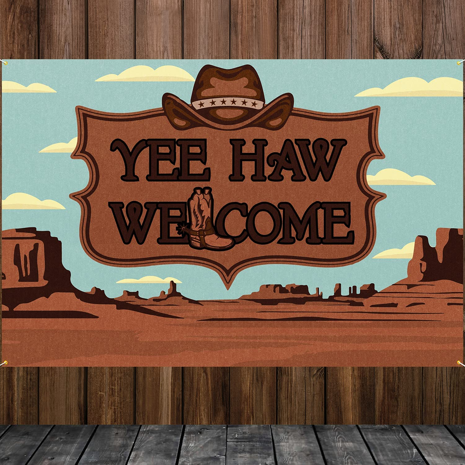 HAMIGAR Yee Haw Welcome Banner Backdrop Western Themed Birthday Decorations Party Supplies for Cowboy or Cowgirl 3.9 x 5.9ft (Brown)