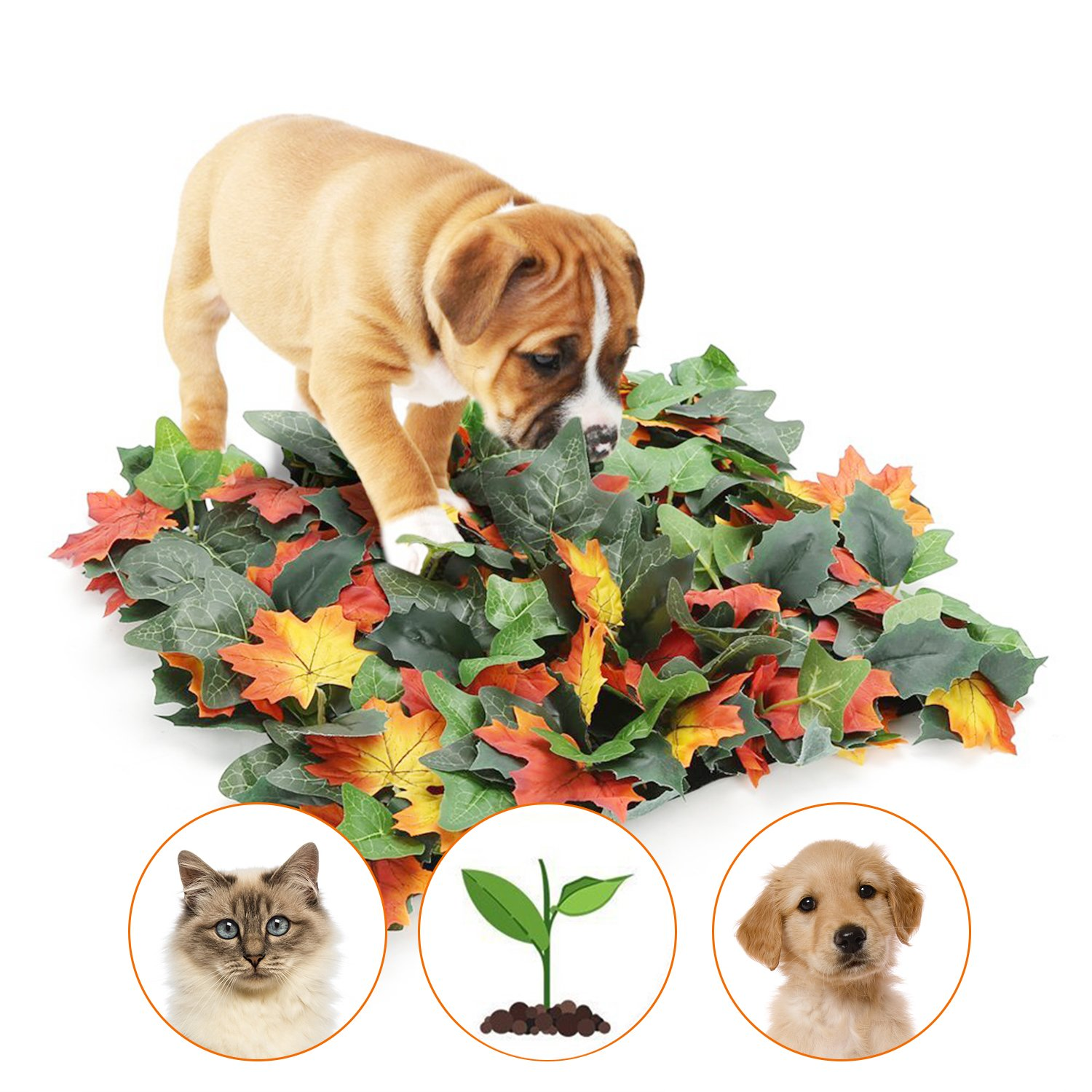 Dog Snuffle Mat Simulation Maple Leaf Feeding Mat Dog Nosework Blanket Encourages Natural Foraging Skills