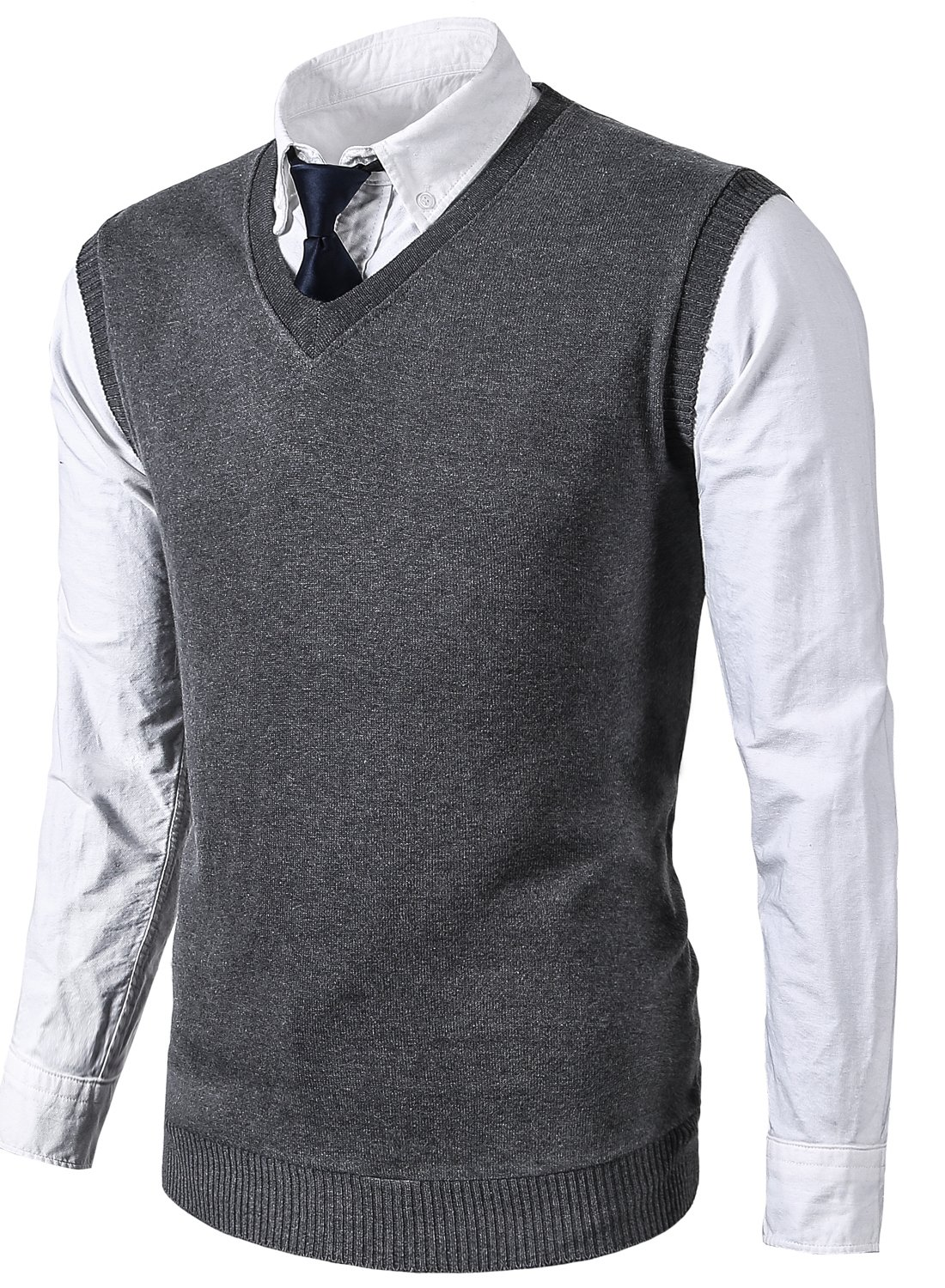 MIEDEON Mens Various Color Casual Slim Fit Knit Vest Sweater (L, Grey)