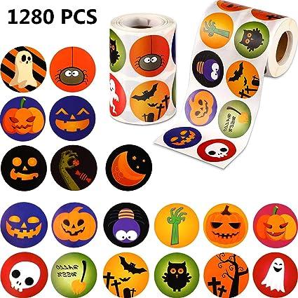 1280 Piezas Pegatinas de Halloween Surtido de Halloween Pegatinas lindas Pegatinas de calabaza pequeñas Pegatina con forma de rollo Decoraciones para los favores de la fiesta de Halloween, 25 diseños: Amazon.es: Belleza