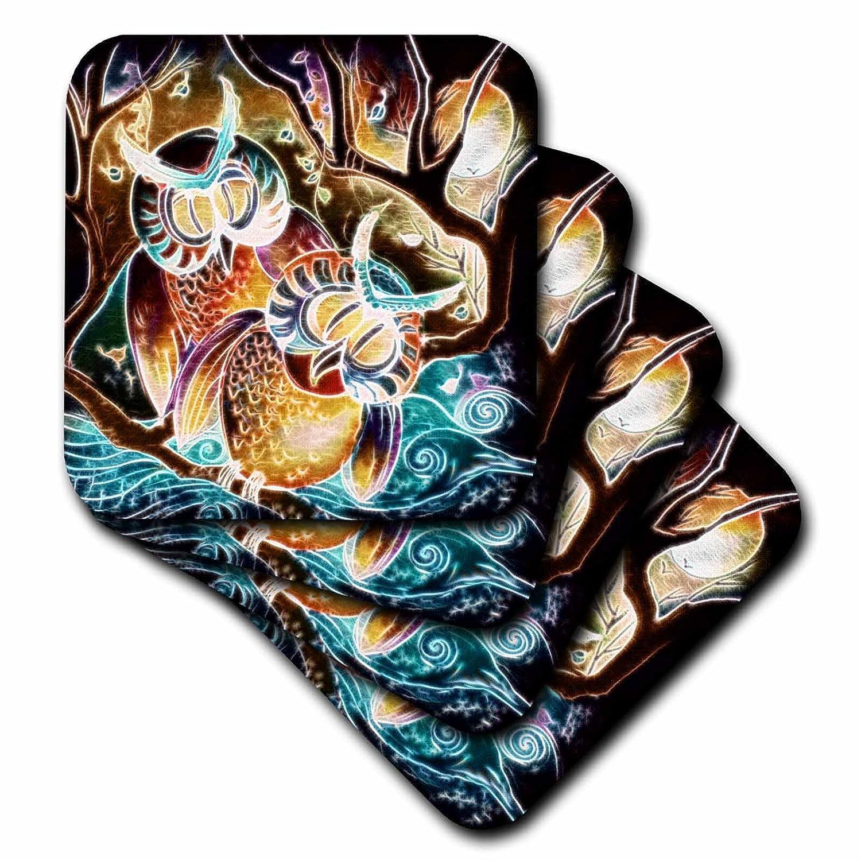 3dRose CST/_116259/_3 Whimsical Fractal Glow Owls in The Moonlight Digital Art-Ceramic Tile Coasters Set of 4