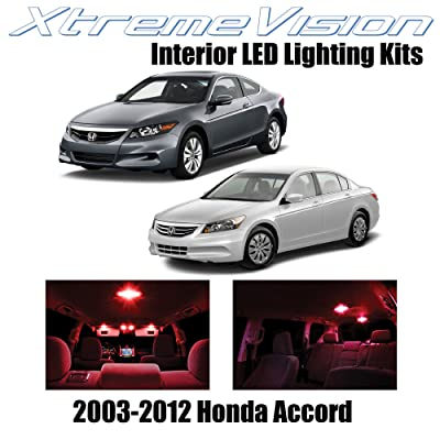 XtremeVision Interior LED for Honda Accord 2003-2012 (12 Pieces) Red Interior LED Kit + Installation Tool: Automotive
