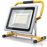 Brandson - 50W Foco LED para obras - Equivalente a 280W halógeno- 4800 lúmenes - Haz de luz de 120 grado - 6400K - Montaje en la pared o en un soporte - IP65 - amarillo