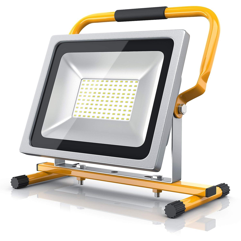 Brandson – Faretto da cantiere a LED da 50W | Equivalente a 280W alogeno| 4800 lumen | 120° fascio luce | 6400K | Montabile a parete o su supporto | IP65 | 36 cm alto | giallo 303179