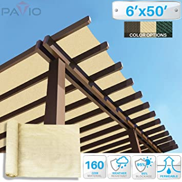 Patio Paradise 6u0027x50u0027 Sunblock Shade Cloth Roll,Beige Sun Shade Fabric 95