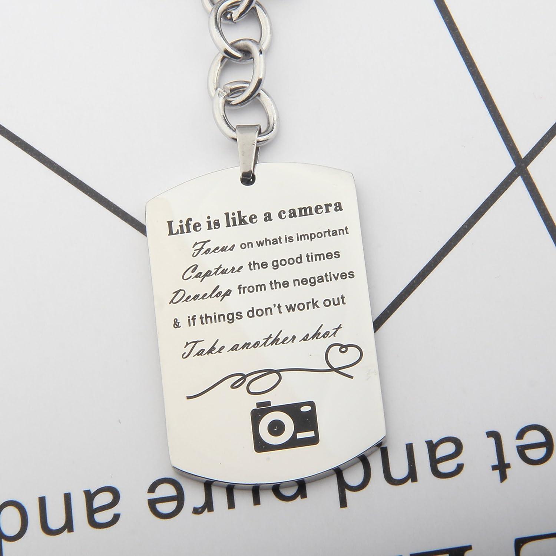 Amazon.com: gzrlyf la vida es como una cámara collar llavero ...