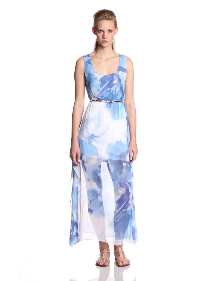 Calvin Klein Womens Sleeveless Printed Chiffon Maxi Dress