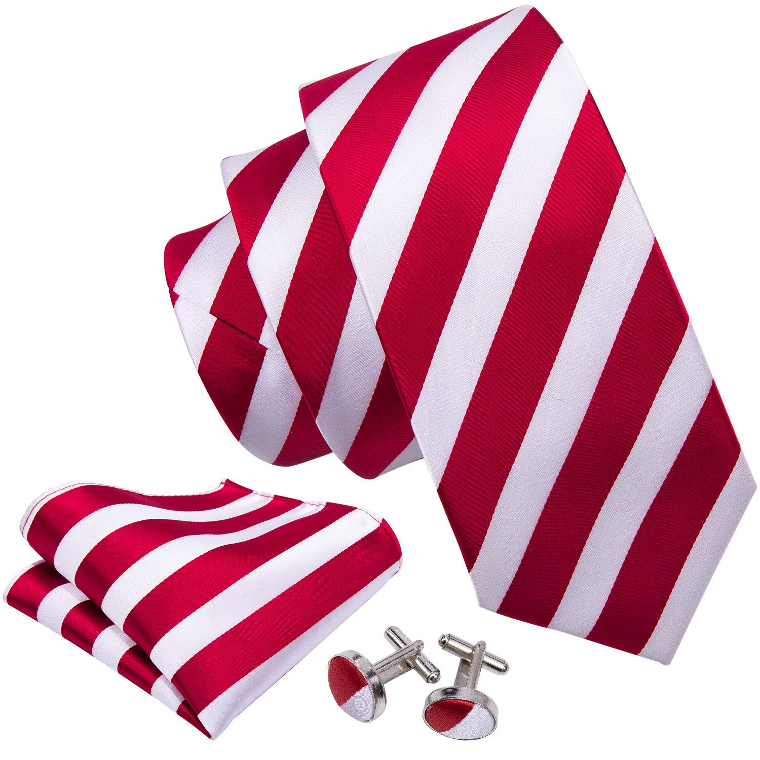180629b53c61 Wang Mens Ties Classic Stripe Tie Set for Men Silk Woven Hanky Cufflinks  product