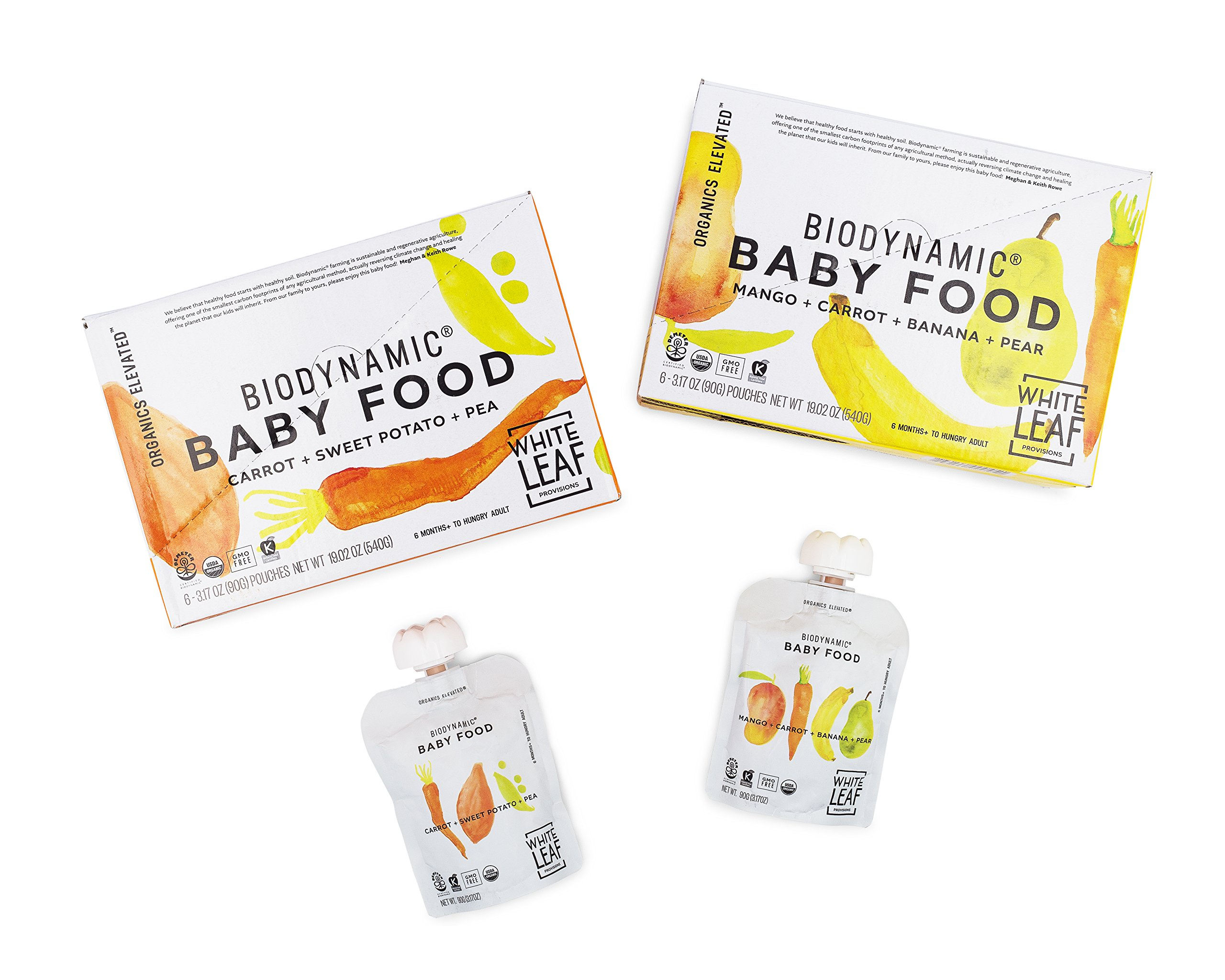 White Leaf Provisions Organic Biodynamic Baby Food 6 Pouches each Mango, Carrot, Banana & Pear and Organic Biodynamic Baby Food - Carrot, Sweet Potato & Pea
