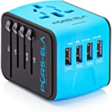 International Travel Power Adapter with 4 USB 3.4A Charger & Worldwide AC Wall Outlet Plugs for UK, US, AU, Europe & Asia - Safety Fused, Gift Pouch - Blue