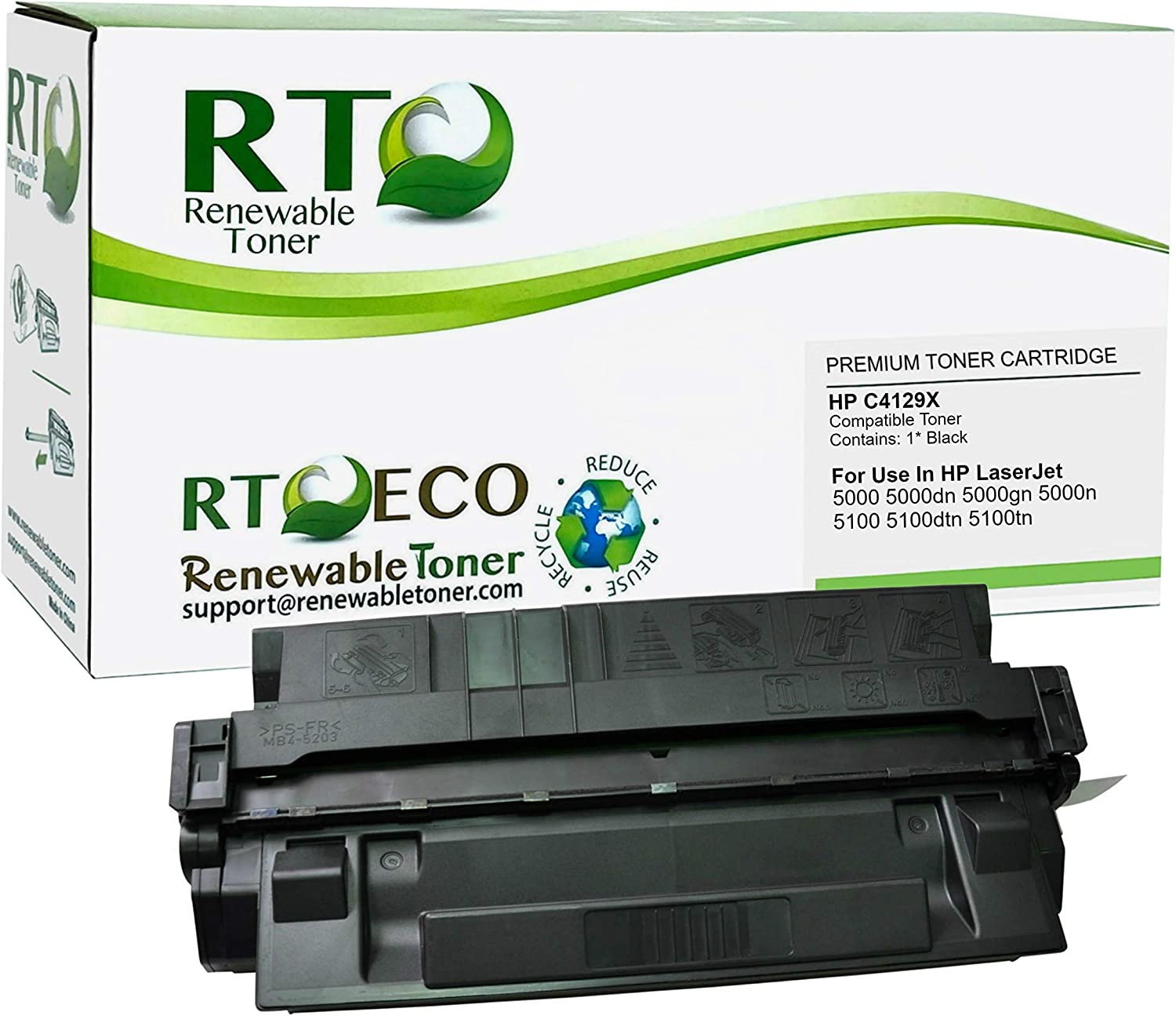 Renewable Toner Compatible Toner Cartridge High Yield Replacement for HP 29X C4129X for Laserjet 5000 5100 Printers