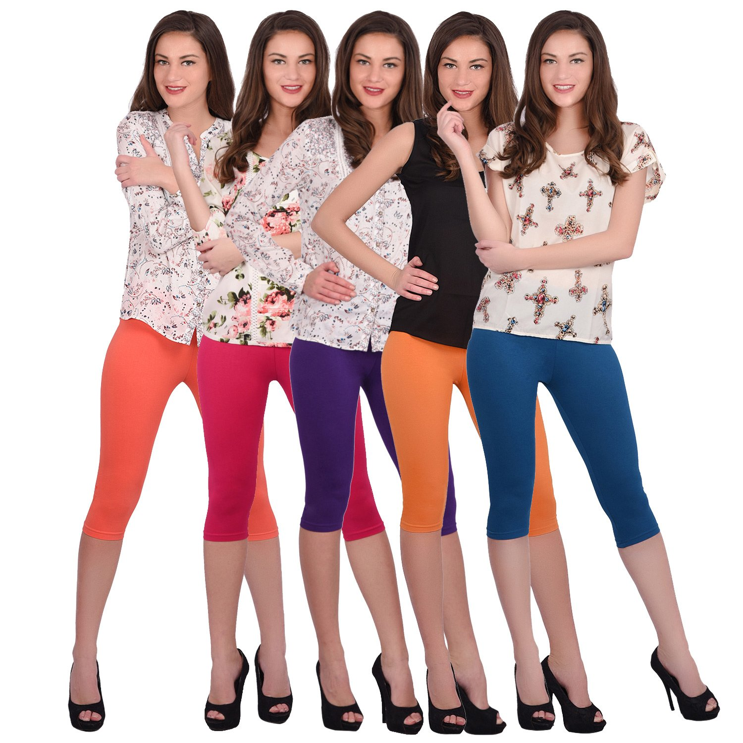 78ad7a1220c738 Buy Robinbosky Premium Blue Orange Grey Pink and Maroon Combo 3/4TH leggings  Online at Low Prices in India - Amazon.in