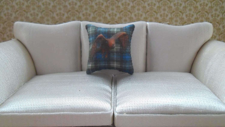 Golden Eagle 1//12th Scale Dolls House Blue Tartan Cushion
